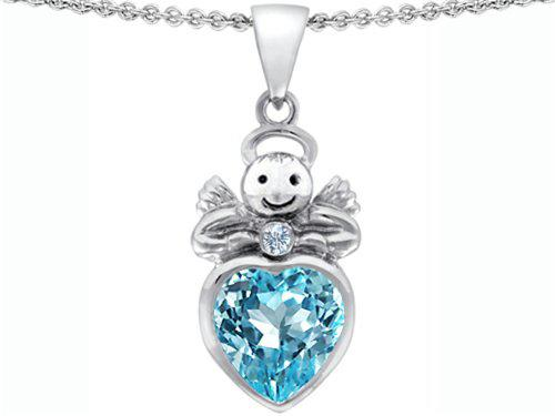 Star k sterling silver love angel pendant with 10mm heart