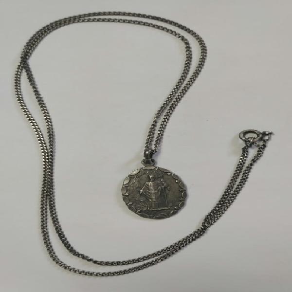 Sterling silver vintage st. patrick pendant & necklace -