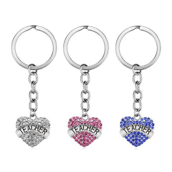Teachers' day keychain crystal heart alloy gift key ring key