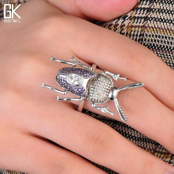 Trendy s925 sterling silver insect finger rings for women