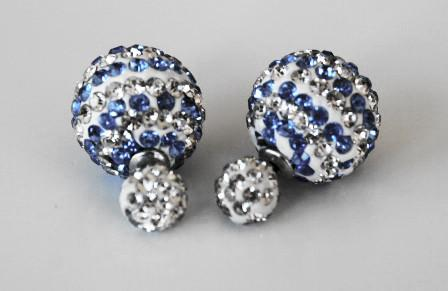 Two-sided double colour stripped blue & white rhinestone