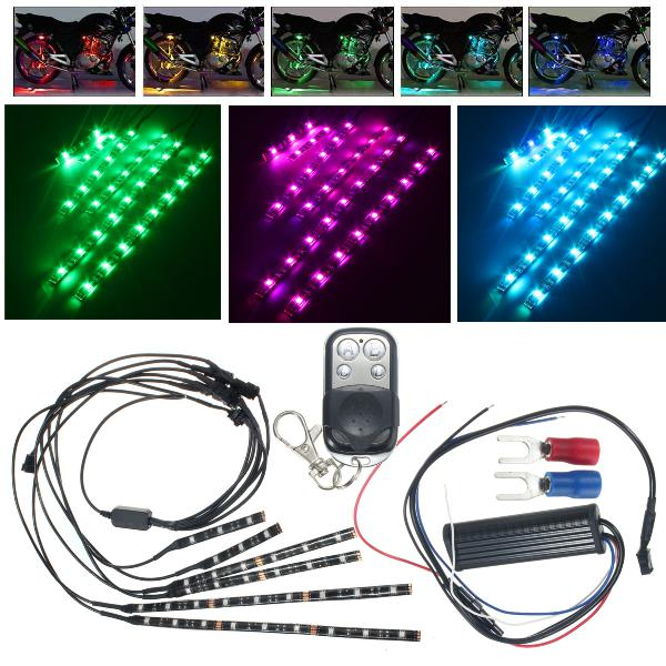 18colors waterproof led motorcycle engine chassis lights rgb