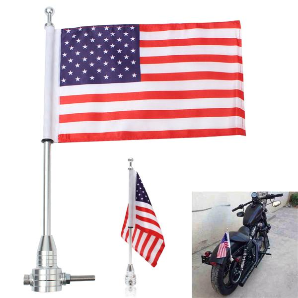 Universal motorcycle american usa flag pole luggage rack