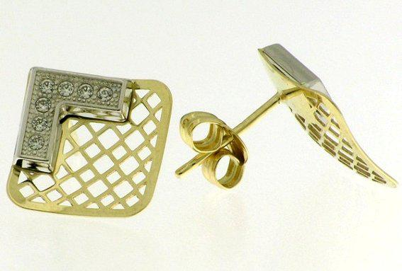 9k / 9ct gold 2 tone earrings: open square, simulated