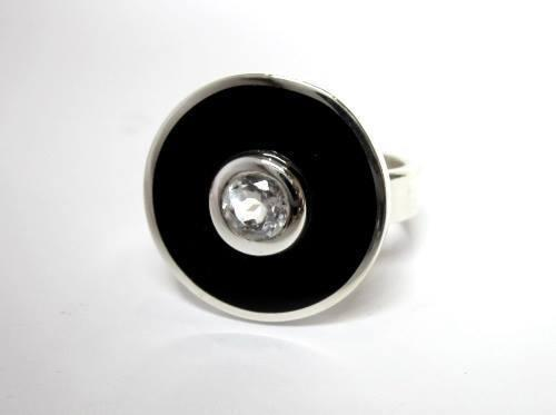 Black resin and cubic round sterling silver ring - custom