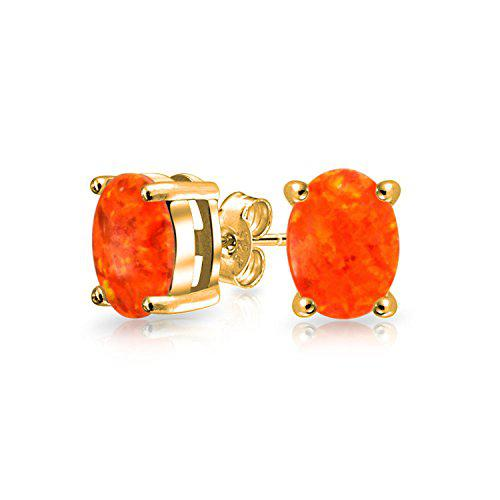 Bling jewelry gold plated 925 silver orange synthetic