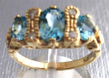 Blue Topaz and Diamonds in 9 ct Gold Ring