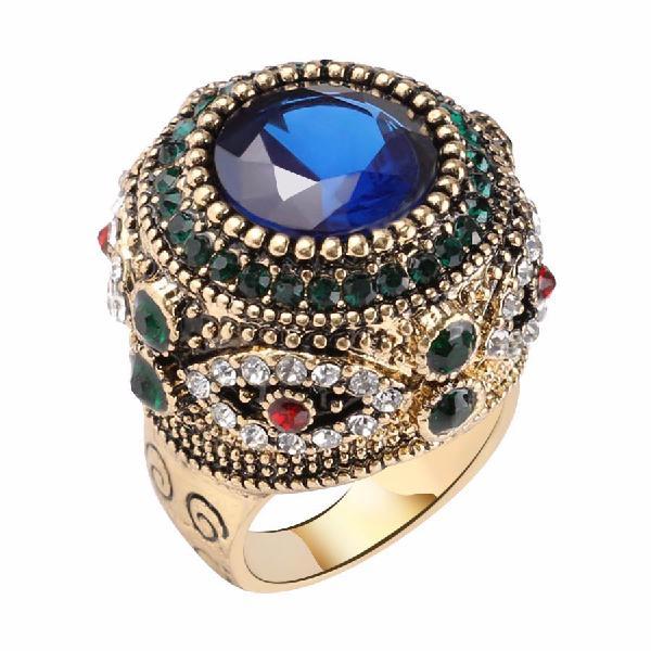 Bohemian blue rhinestone finger rings ethnic gold plated