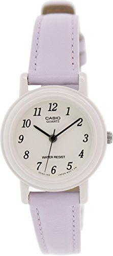 Casio women's light purple genuine leather analog watch