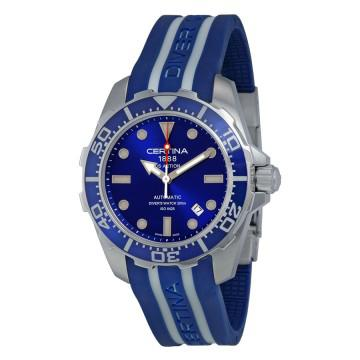 Certina ds action automatic diver blue dial blue and white