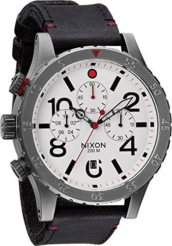 Clock nixon 48-20 chrono leather white man chronograph