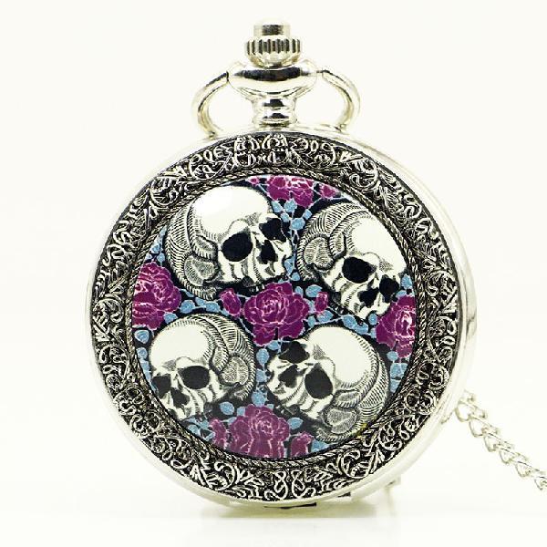 Deffrun creative rose skull head silver quartz pocket watch