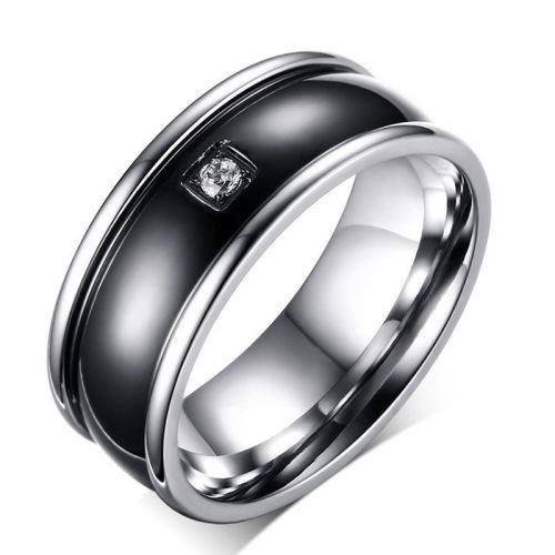 Elegant stainless steel crystal ring - size 10 1/2