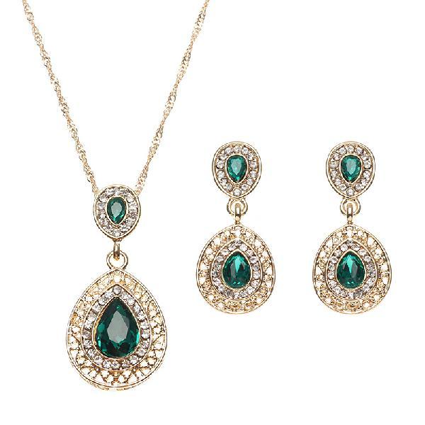 Elegant water drop jewelry set emerald rhinestone crystal