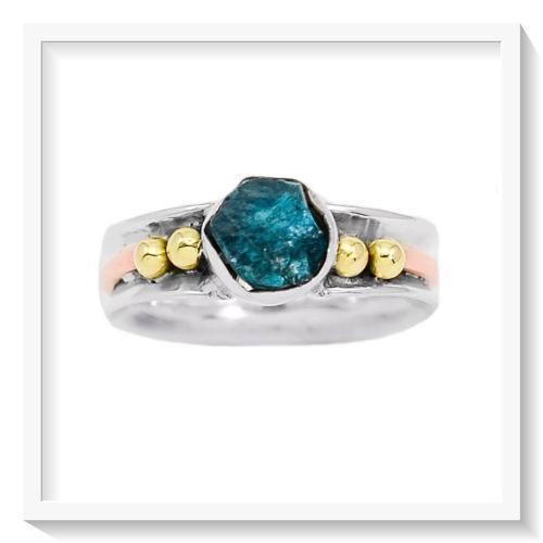 Fantastic colour natural neon blue apatite solid.925