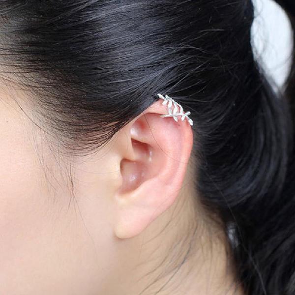 Fashion 925 sterling silver wrap leaf cartilage earrings no