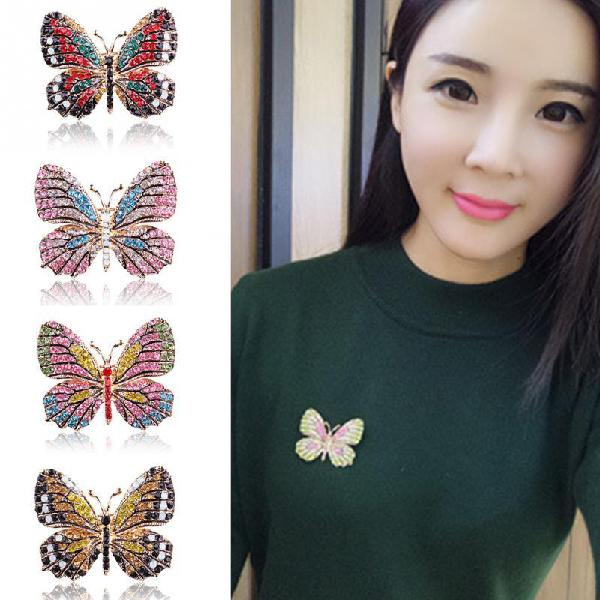 Fashion butterfly brooches for women perfect rhinestone