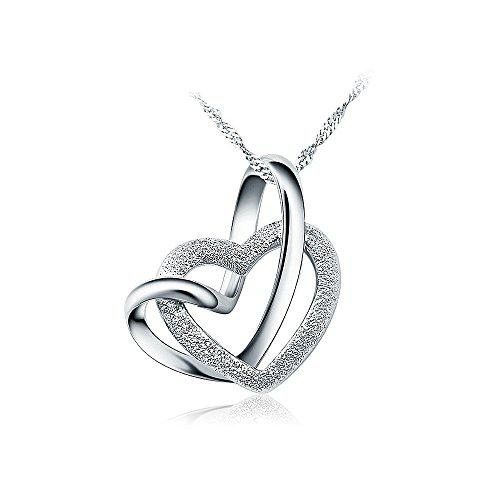Glamorousky 925 sterling silver heart shaped pendant with