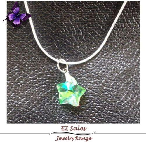 Imitation swarovski crystal pendant on silver chain - sale