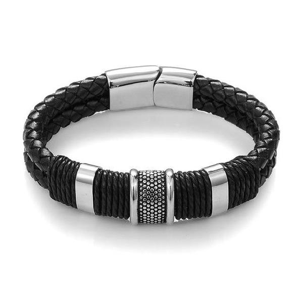 Jiayiqi 2017 fashion black braid woven leather bracelet