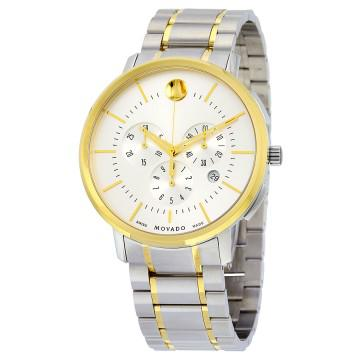Movado thin classic chronograph silver soleil dial two-tone