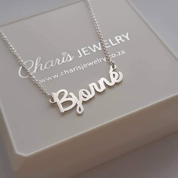 N225 - Sterling Silver Personalized Custom Cursive Name... -