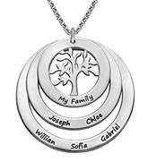 N61 - family circle sterling silver necklace with hanging