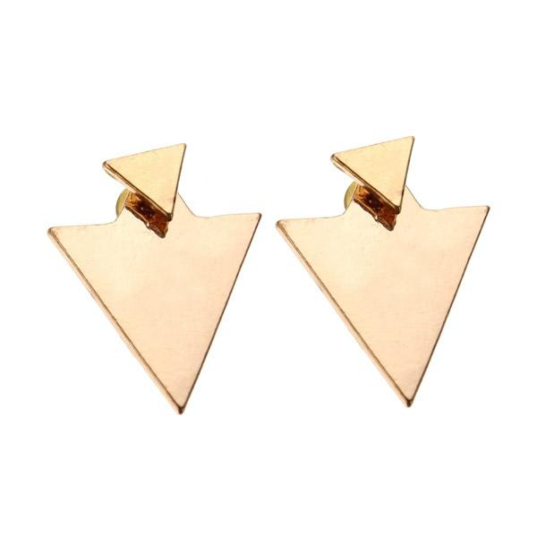Punk gold silver geometric triangle stud fashion earrings