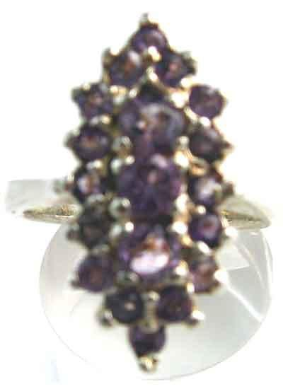 Solid Sterling Silver & Genuine Amethyst Ring.