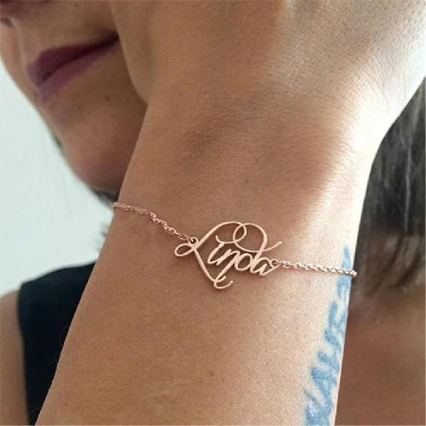 Stainless steel name bracelets. - rose gold / 2