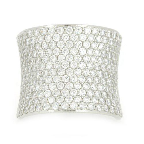 Sterling silver cz pave dome ring