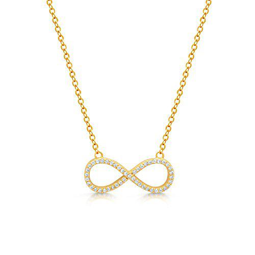 """Sterling silver cubic zirconia infinity necklace - 18"""" chain"""