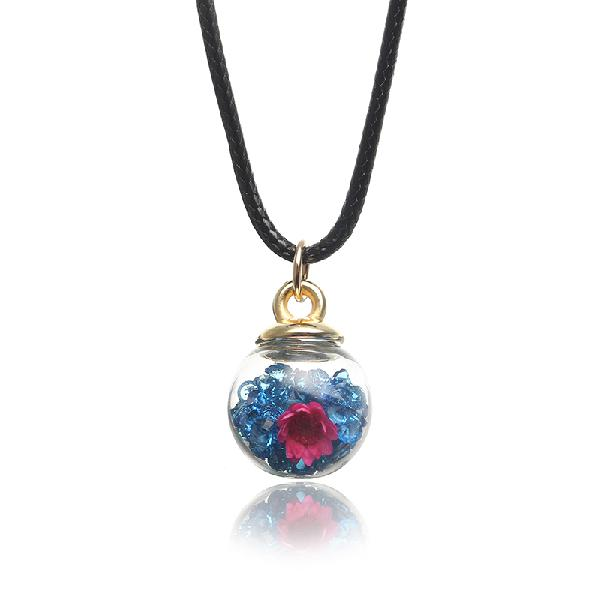 Sweet crystal glass ball natural flower wax rope women