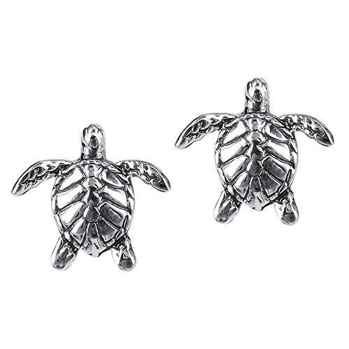 Textured swimming sea turtles.925 sterling silver earrings