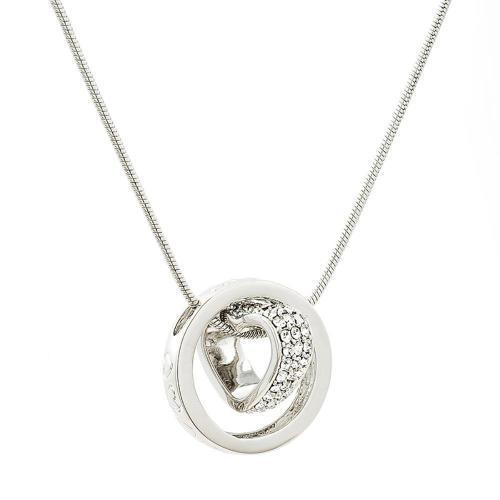 White gold plated heart and ring gemstone pendant made with