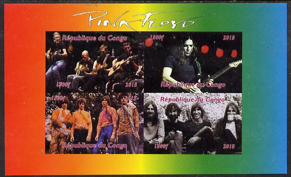Congo 2015 pink floyd #1 imperf sheetlet containing 4 values