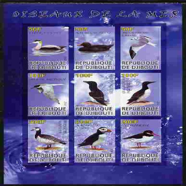Djibouti 2010 Sea Birds imperf sheetlet containing 9 values