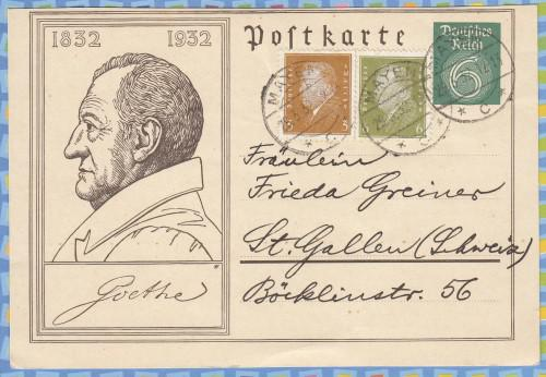 Germany - 1932 - Postal Stationery, Post Card - Goethe