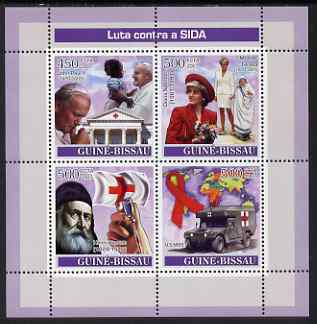 Guinea - bissau 2007 fight aids perf sheetlet containing 4