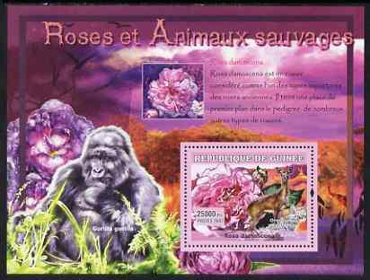 Guinea - conakry 2007 roses & wild animals perf souvenir