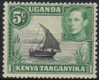 Kenya uganda tanganyika - 1938 kgvi 5c black and green mh sg