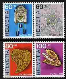 Switzerland 1994 pro patria - folk art perf set of 4