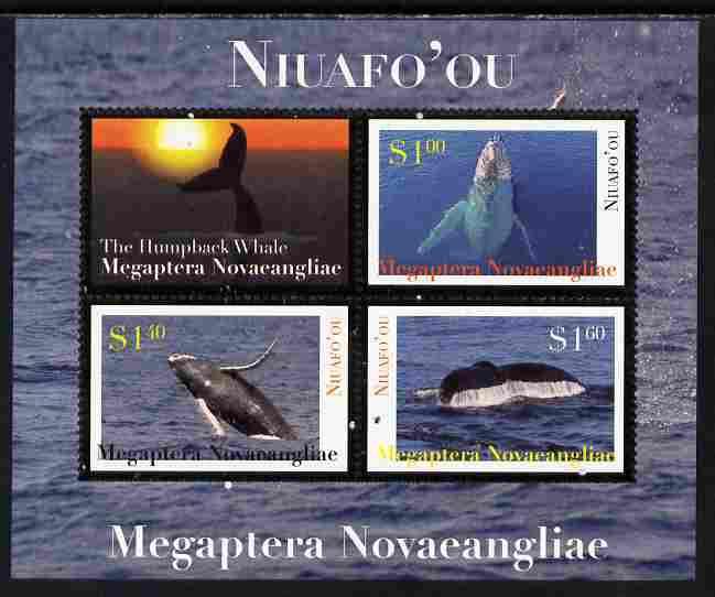 Tonga - Niuafo'ou 2011 Whales #1 perf sheetlet containing 3