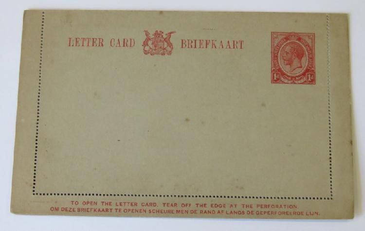 Unused south africa george 5 letter card - instructions in