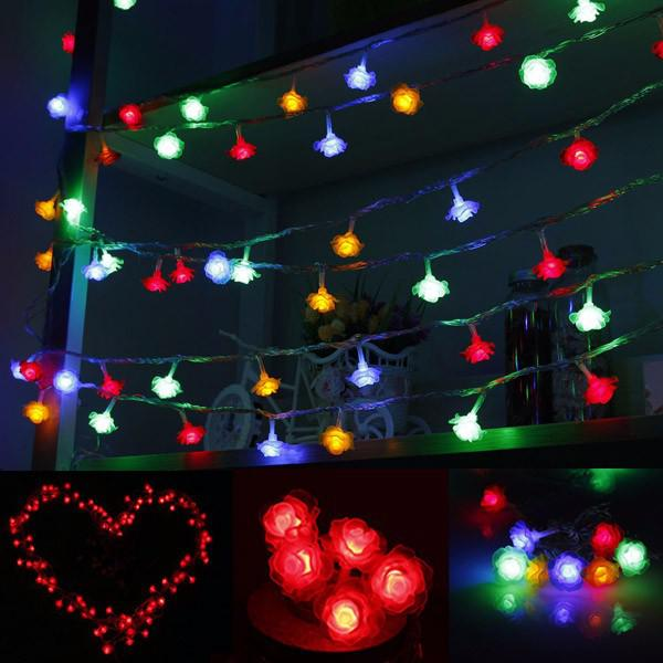 10m 100 led rose shape light string 220v color changeable