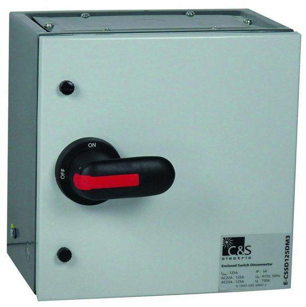 125a 3p bs fused isolator enclosed grey steel ip54