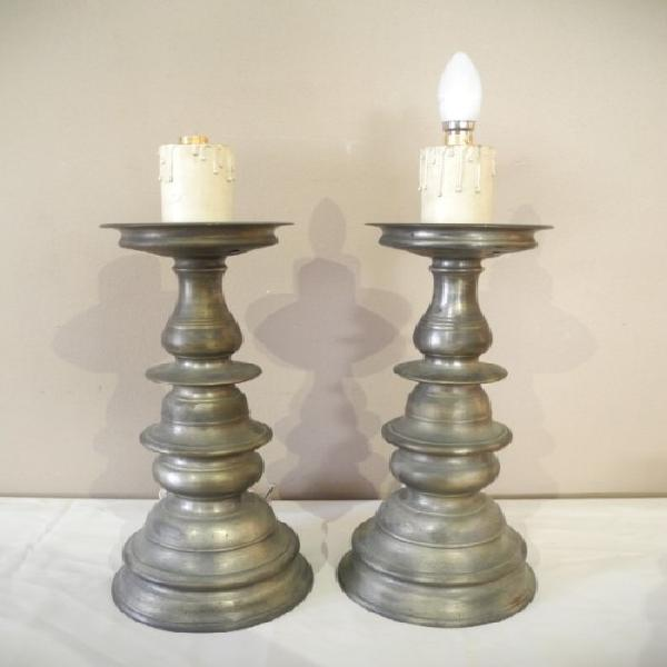 A fabulous large pair of grey metal table lamps, add a