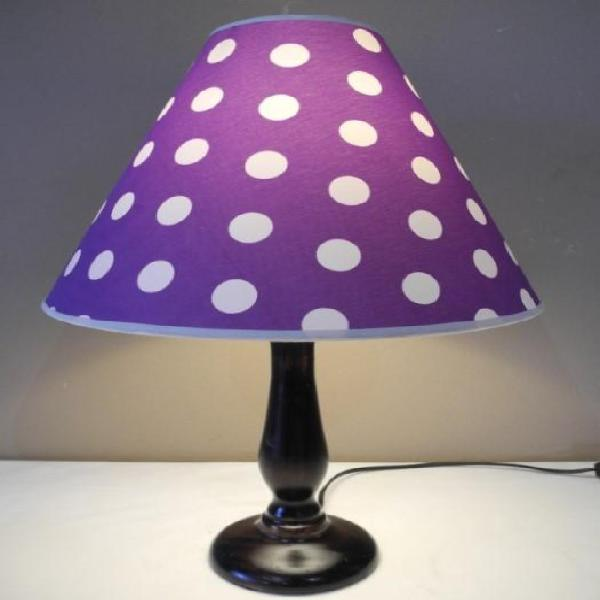 A modern wood lightweight coffee table lamp with a purple