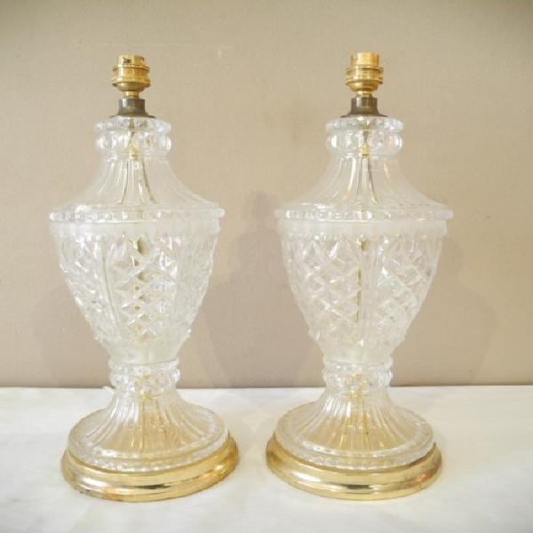 A striking pair of solid glass table lamps, add a modern