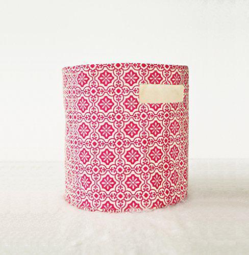 Vliving canvas basket, tile print, dark pink and white,